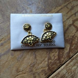 Nwt vintage Damascene Toledoware bird fan earrings